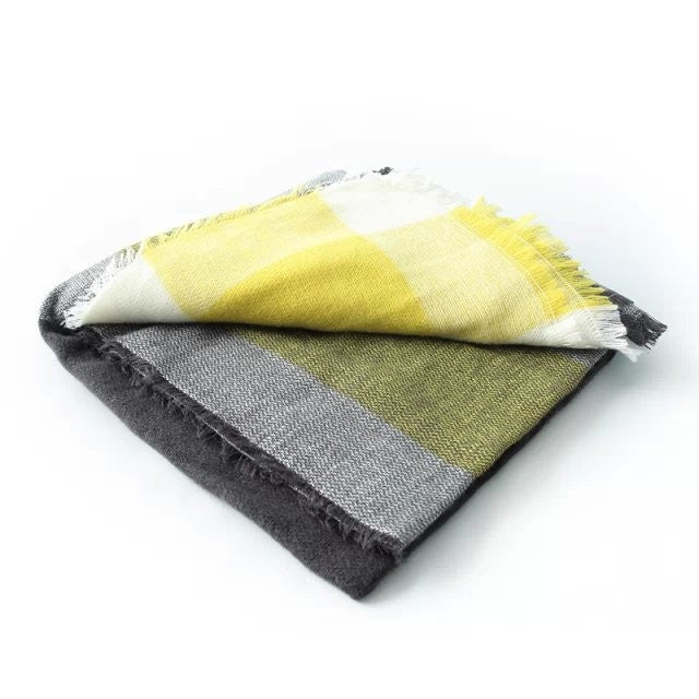 Winter Dreams Plaid Blanket Scarf In Black Yellow