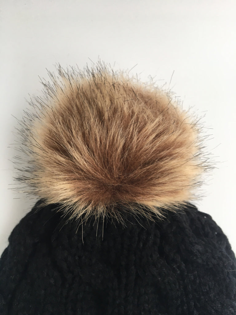 Classical Knit Beanie Faux Fur Pom Pom | Two Colors