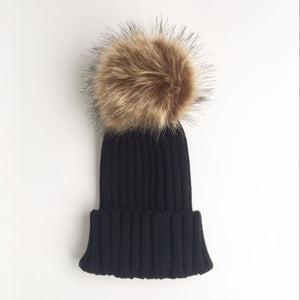 Minimal Faux Fur Pom Pom Beanie | 4 Colors