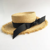 Ribbon Straw Boater Hats