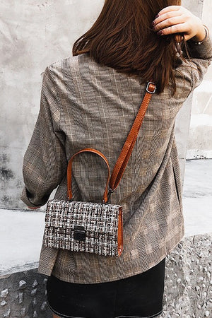 Fabric Woven Crossbody Satchel Bag