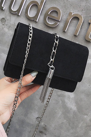 Chain Tassel Abrasive Texture Crossbody Bag