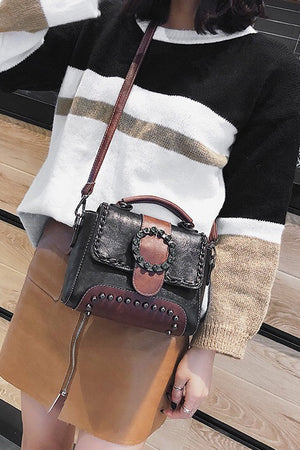 Women Retro Vintage Studded Crossbody Satchel Shoulder Bags