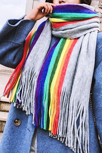 Rainbow Striped Long Fringe Scarves | Fall Winter Scarves For Women