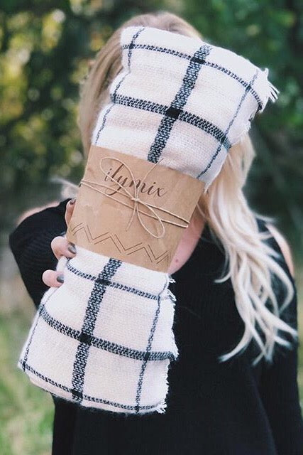 grid blanket scarves