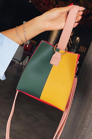Contrast Color Bucket Bag