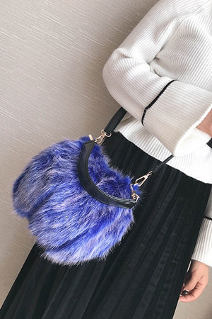 Faux Fur Crossbody Shoulder Satchel Bags