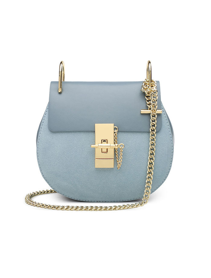 Suede Saddle Chain Bag