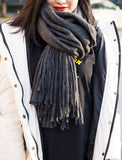 Brushed Long Fringed Scarf