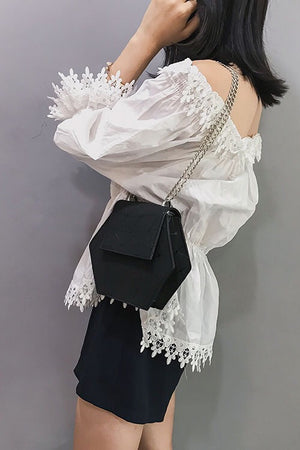 Women 's Geometric Chain Crossbody Bag