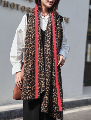 Red Striped Leopard Scarves
