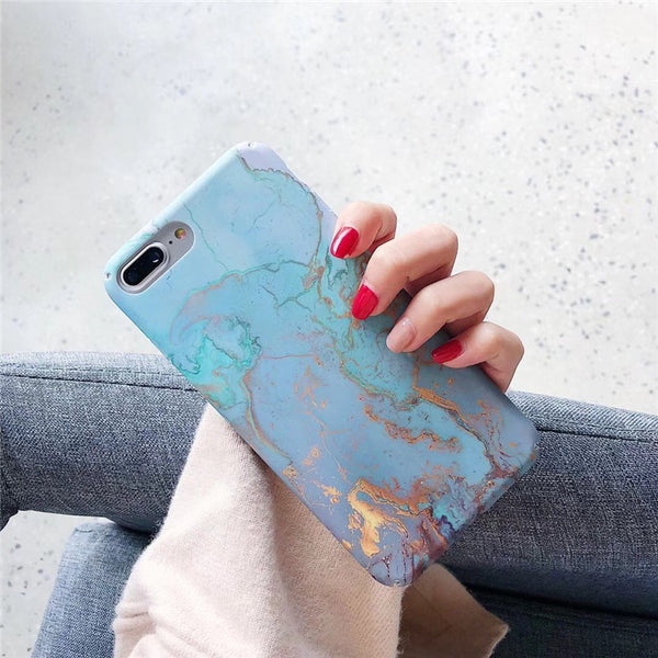 Aurora Blue and Rose Gold Chrome Marble iPhone Cases