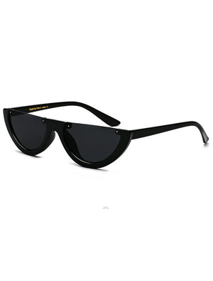 Retro Half Circle Rimless 90's Sunglasses Black
