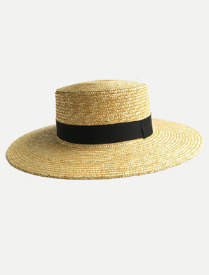 Black Ribbon Boater Hats