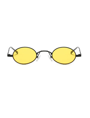 Retro 1990's Small Oval Metal Sunglasses Yellow