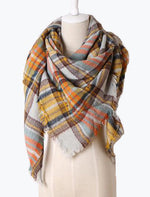 Winter Dreams Plaid Blanket Scarf In Mustard Yellow
