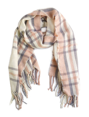 Soft Plaid Fringe Scarf Blush Pink