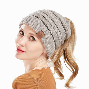 Messy Bun Ponytail Beanie Hat | 8 Colors