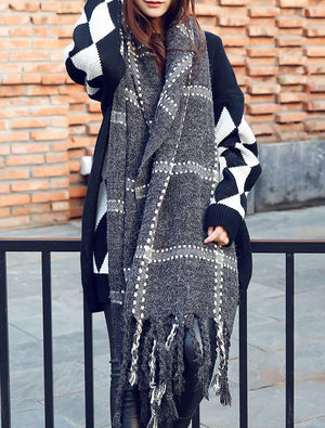 Chunky Oversized Grid Scarves