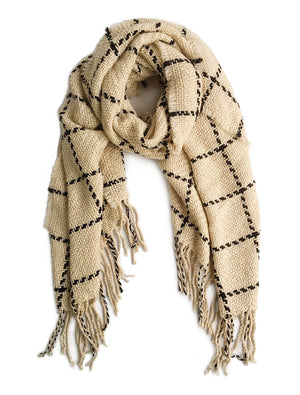 Chunky Knit Grid Scarves Beige