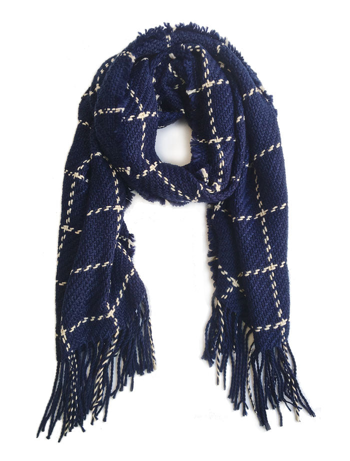 Chunky Knit Grid Scarves Dark Blue