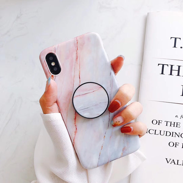 Light Pink and White Marble iPhone Cases with Popup Holders