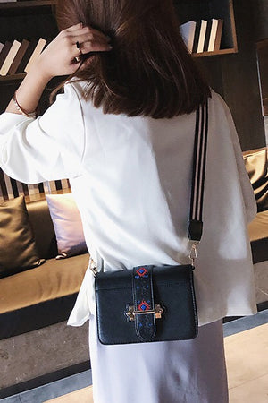 Wideband Embroidered Crossbody Bag