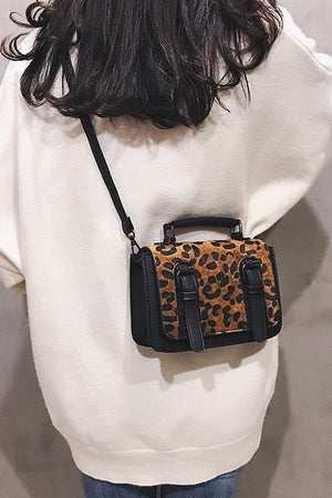 Women's Woolen Leopard Crossbody Bag