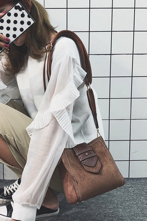 Mini Small Suede Crossbody Tote Bag