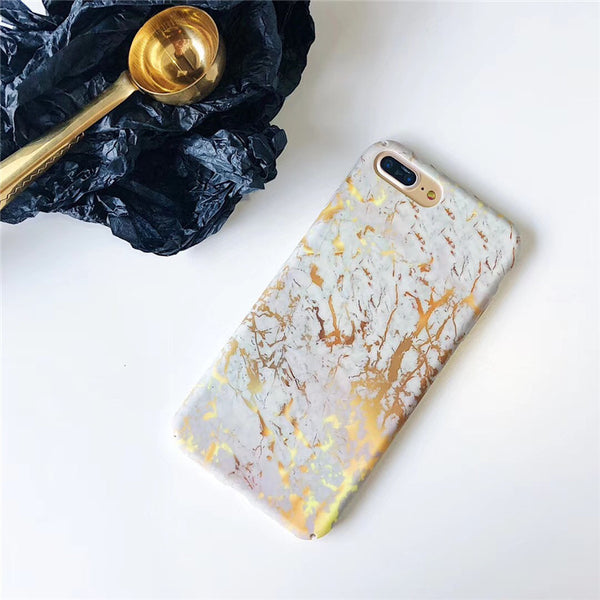 Fashion White and Gold Marble iPhone Cases
