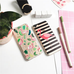 Black Striped Pink Flamingo iPhone Cases