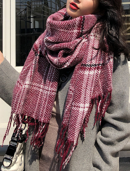 Fringed Plaid Oblong Scarves