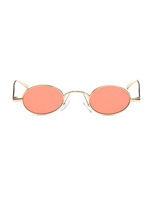 Retro 1990's Small Oval Metal Sunglasses Orange