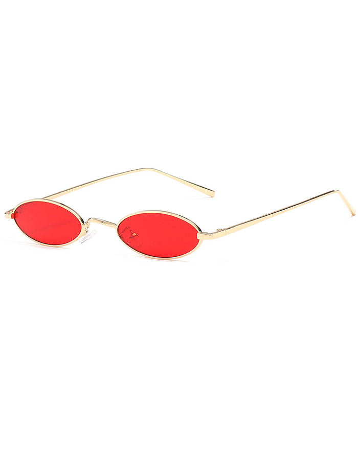 Small Sunglasses 90's Flat Oval Lens Metal Retro WIE9HD2