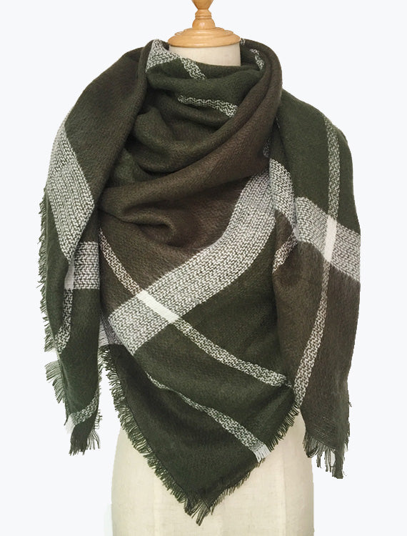 Green Plaid Blanket Scarf