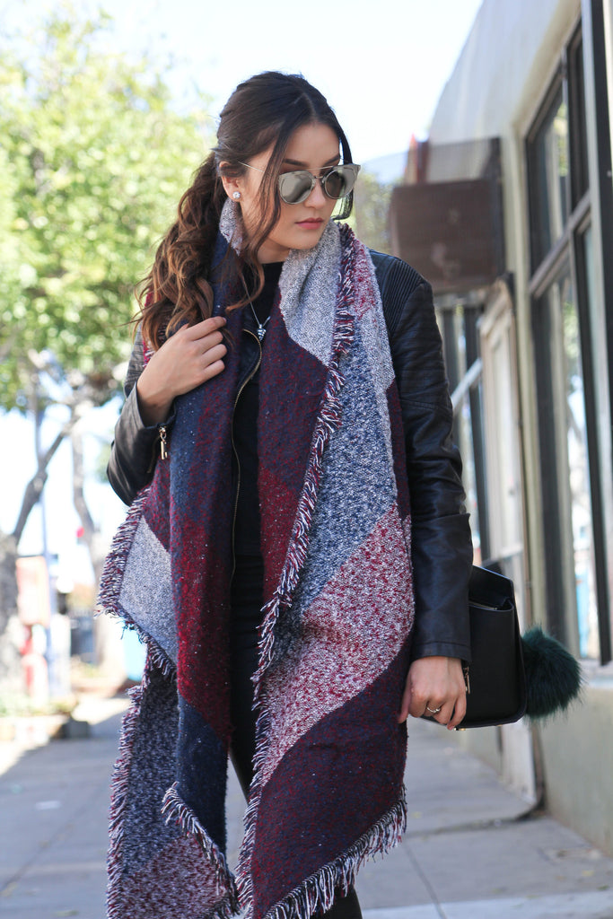 Fringed Blanket Cape Scarf | Burgundy