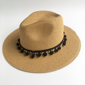 Pom Pom Fedora Hats Dark Brown