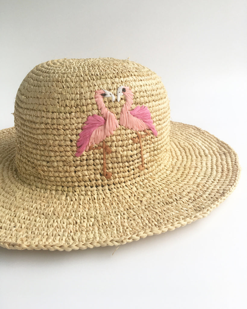Floppy Straw Hats Flamingo Embroidered