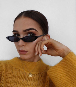 Retro 90's Small Oval Cat Eye Sunlasses