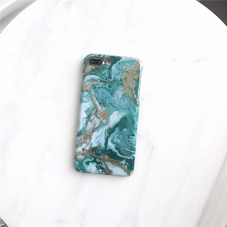 Green Marble Print iPhone Cases