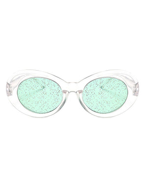 Clout Oval Glitter Colored Lens Sunglasses
