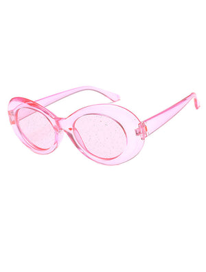 Clout Oval Glitter Lens Sunglasses