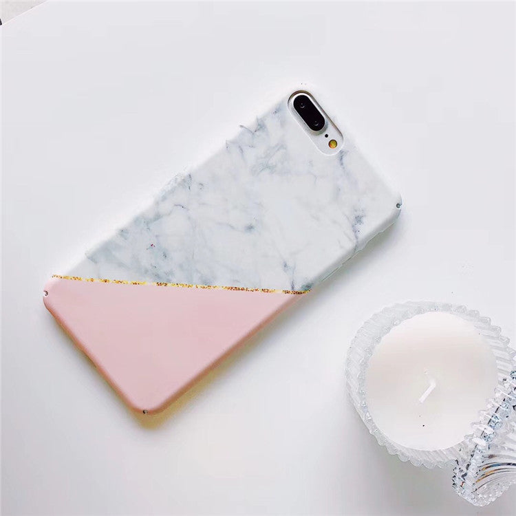 Patchwork White Pink Marble iPhone Cases