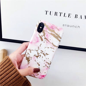 White and Pink Marble iPhone Cases