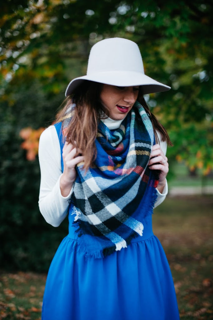 Plaid Blanket Scarf Blue