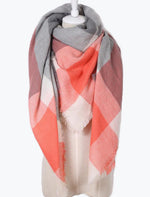 Autumn Vibers Plaid Blanket Scarf In Pink Gray
