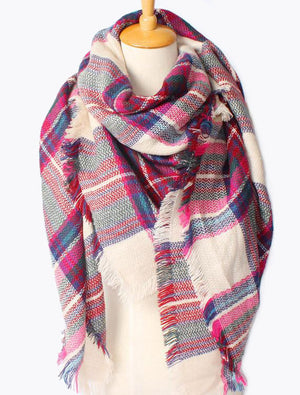 Plaid Blanket Scarf Pink