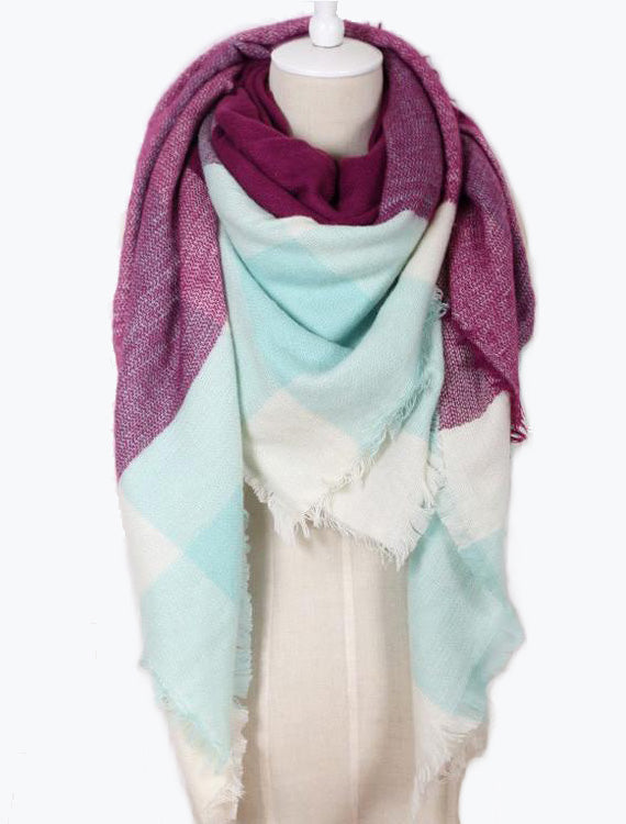 Blanket Plaid Scarf | Violet/Mint