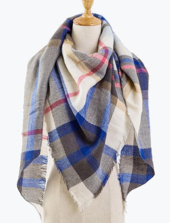 Natural Feelings Plaid Blanket Scarves In Beige Blue
