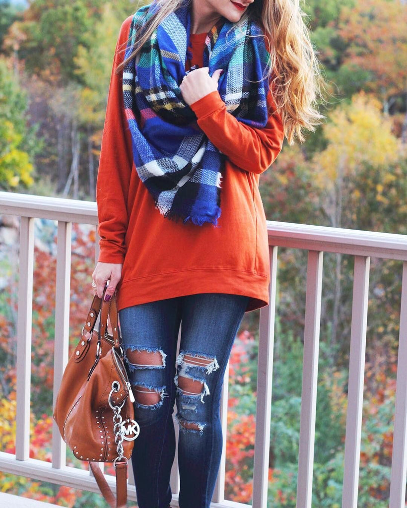 Plaid Blanket Scarves Blue